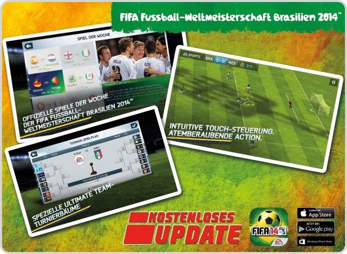 FIFA Fussball-Weltmeisterschaft Brasilien 2014 als kostenloses Update der FIFA 14-App erhältlich