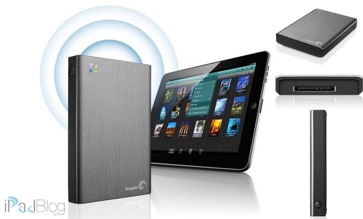 In der Collage sehen wir die Seagate Wireless Plus STCV2000200 externe drahtlose Festplatte 2 TB