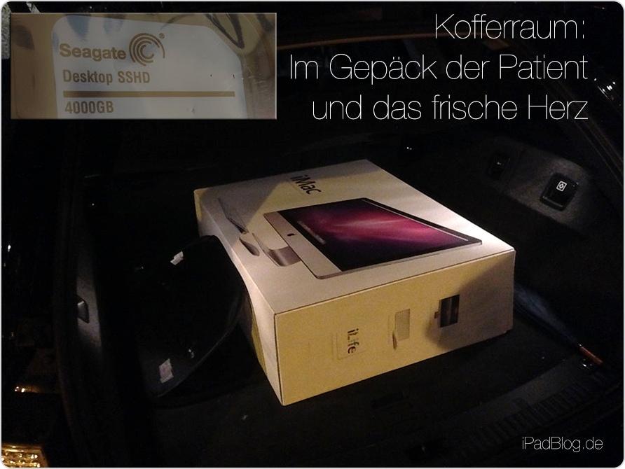 Der iMac macht es sich im Kofferraum bequem