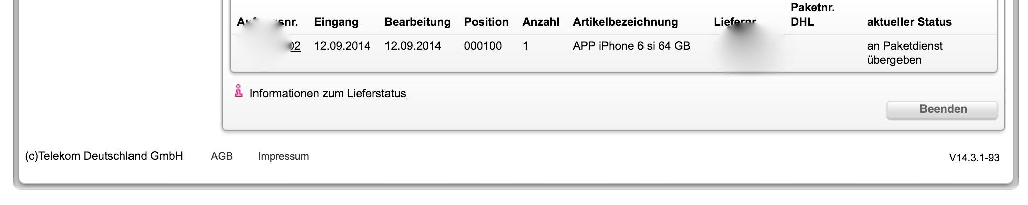 iPhone 6-Lieferstatus-an-Lieferdienst-uebergeben
