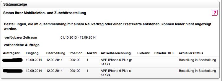 iPhone 6 Bestellung in Bearbeitung