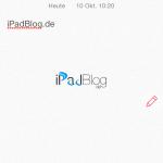 Testweise fügen wir unter unsere Überschrift das iPadBlog.de Logo ein.