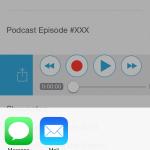 Wenn wir uns entschließen unsere Audioaufnahme direkt zu verschicken, an andere Mitglieder des iPadBlog Teams zum Beispiel, können wir die Audiodatei ganz einfach nach rechts ziehen und als Nachricht oder Mail versenden.