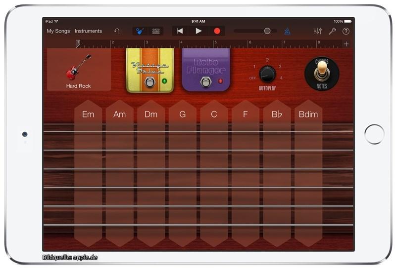 Mit Guitar Amp in der App GarageBand startet das APogee One