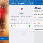 Andere Lauf-Apps wie hier Runtastic können ebenfalls mit HEALTH verbunden werden.