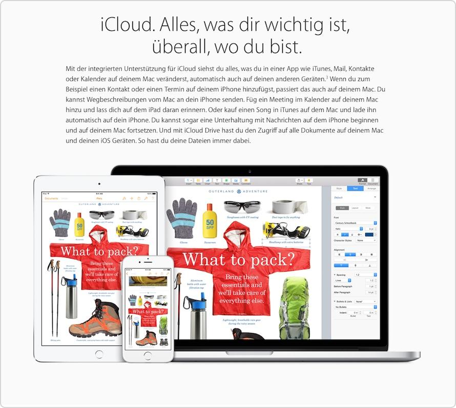 iCloud Drive auf der Apple Website