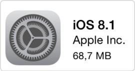 iOS 8.1 Icon auf iOS-Gerät zu sehen