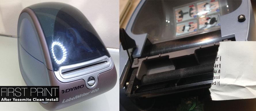 Nach dem Yosemite Clean Install verschlingt der DYMO LabelWriter ein Etikett - nicht mehr brauchbar