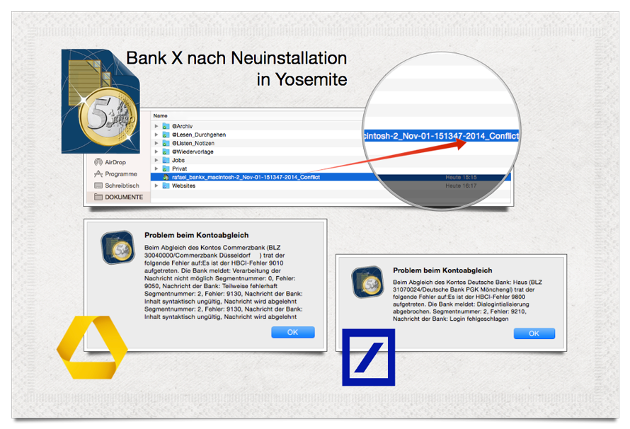 Bank X Infografik über Herausforderungen nach Clean Install in Yosemite