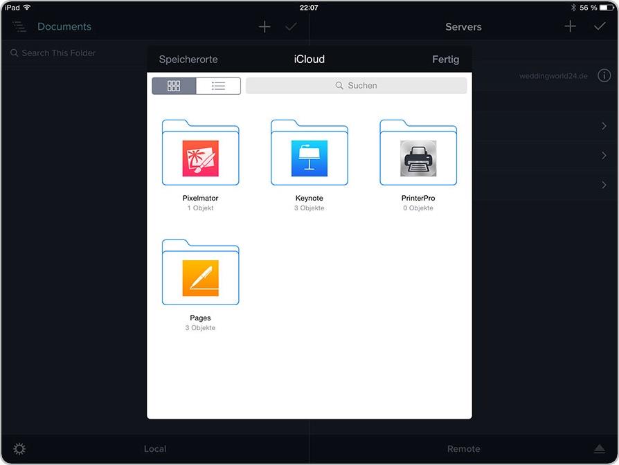 Lokal Dateien aus der iCloud hinzufügen - mit der iOS-App Transmit von Panic