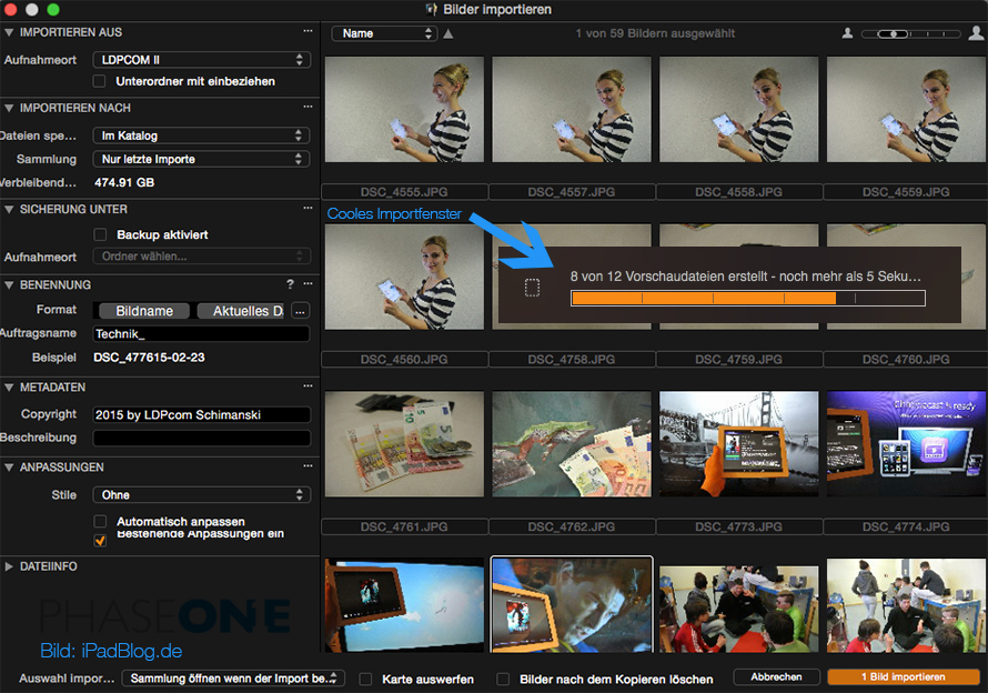 Capture One importiert Bilder