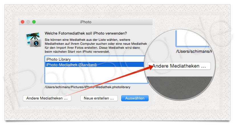 iPhoto Bibliothek auswählen