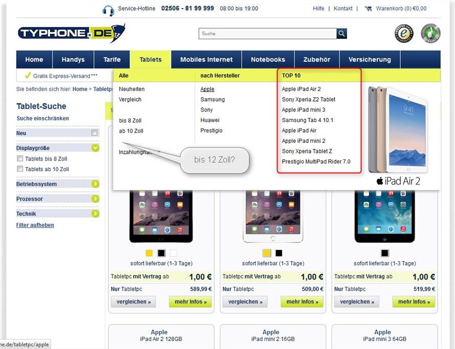 typhone.de - neuer Shop mit iPad Gewinnspiel