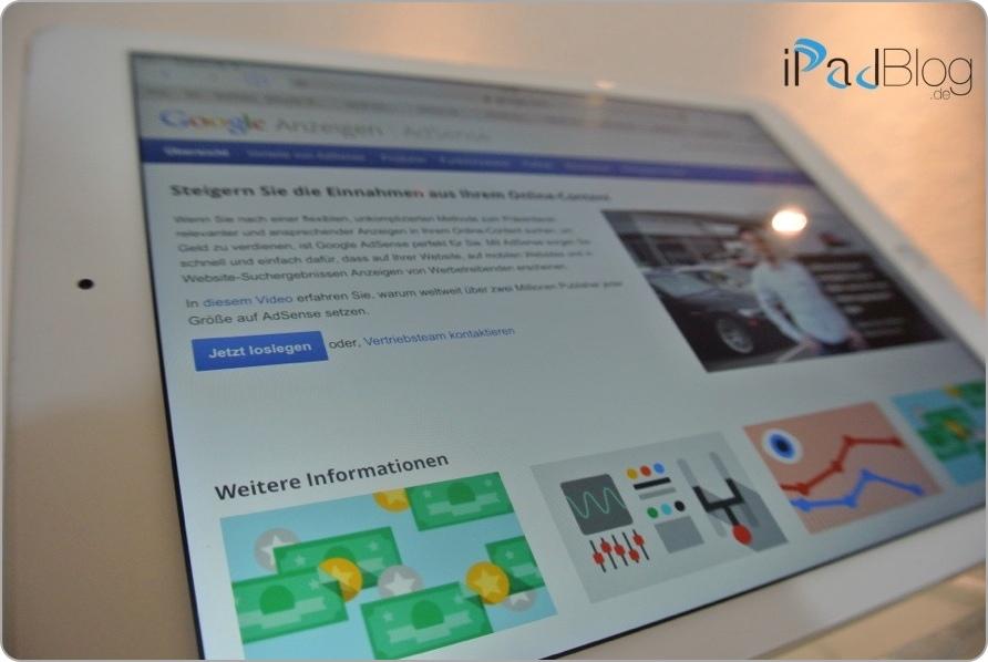 Google AdSense per iPad platzieren und Leistungen überwachen