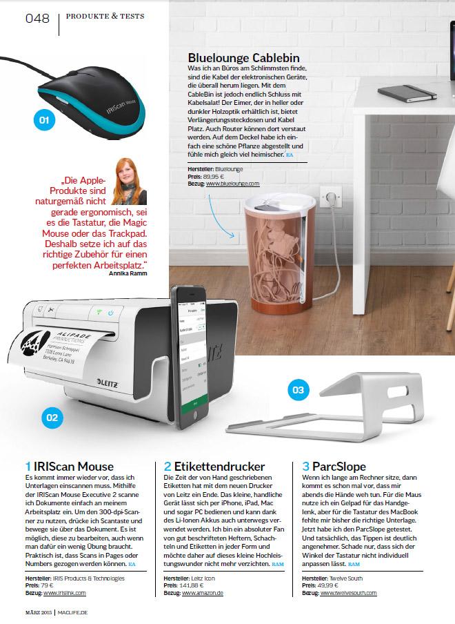 Ausgabe 4/2015 der MacLife mit dem Leitz Icon Etikettendrucker