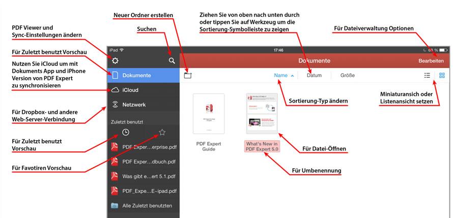 Überblick von PDF Expert 5 auf dem iPad