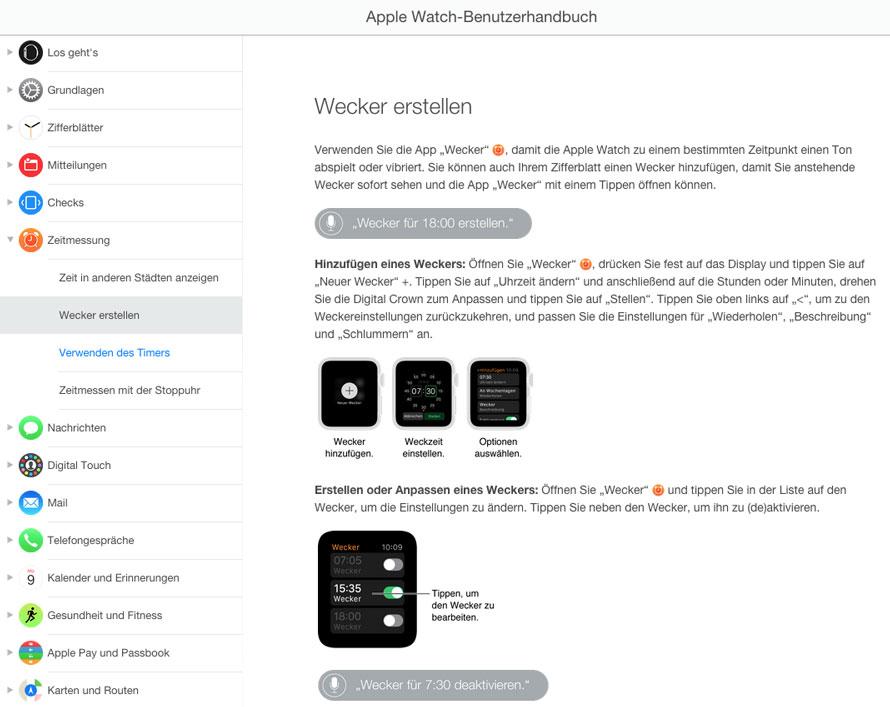 Einblick in Apple Watch-Benutzerhandbuch