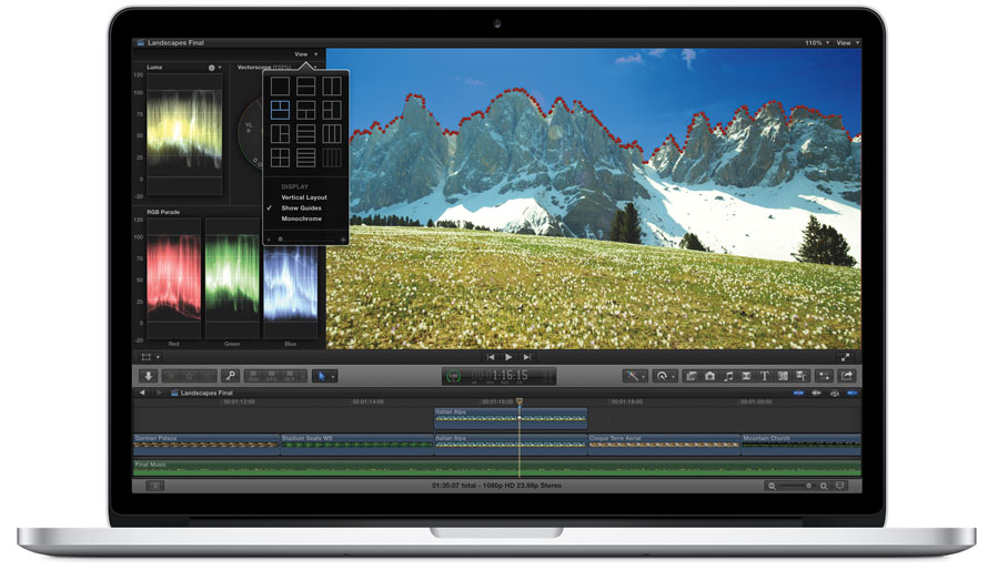 Masken in Final Cut Pro X von Apple auf einem MacBook Pro