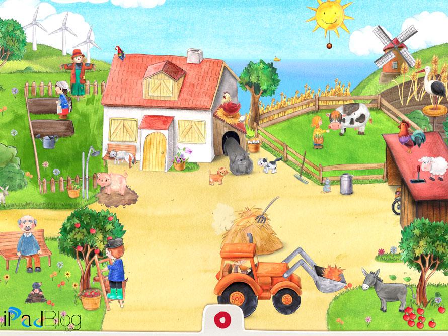 Wimmelapp Szene 1 der Bauernhof