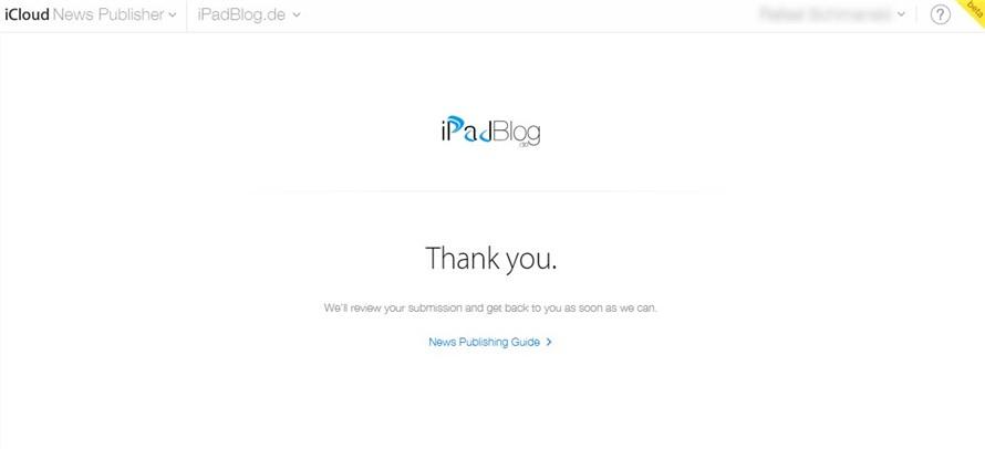 Einreichung iPadBlog.de bei NewsPublisher