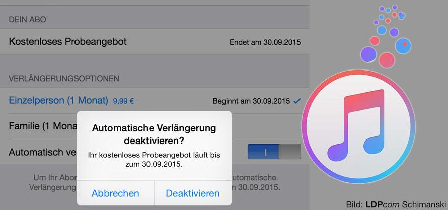 Automatische Deaktivierung bei Apple Music einstellen