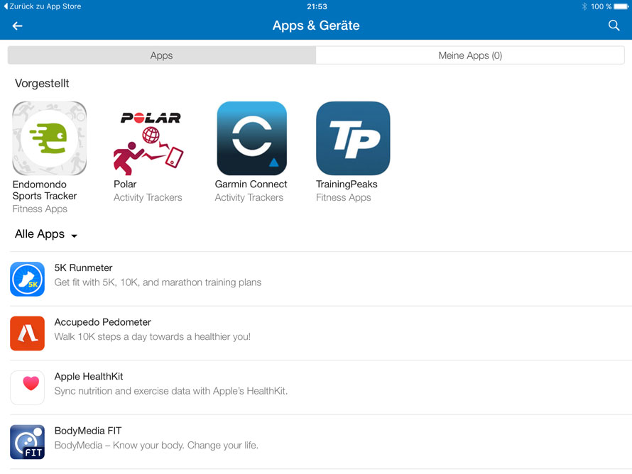 Apps und Geräte bei MyFitnessPal hinzufügen