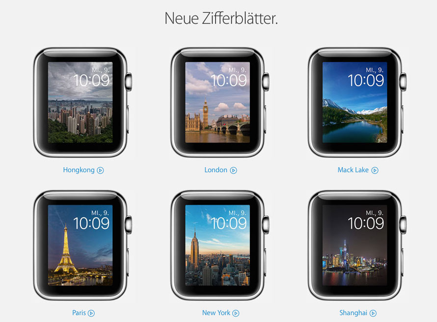 In watchOS 2 neue Ziffernblätter für die Apple Watch