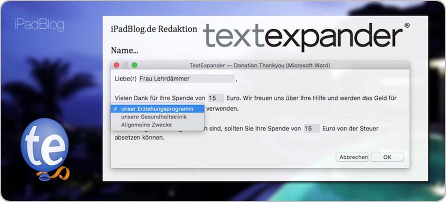 Snippets bei TextExpander in der Version 5