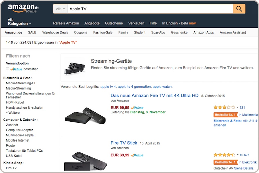 Amazon Suche nach Apple TV