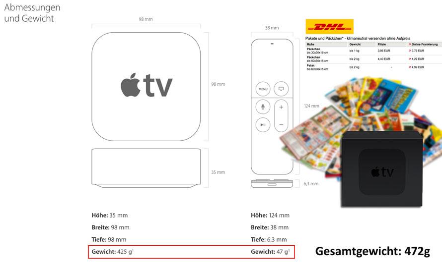 Abmessungen und Gewicht mit Versandkosten geschätzt beim Apple TV 4