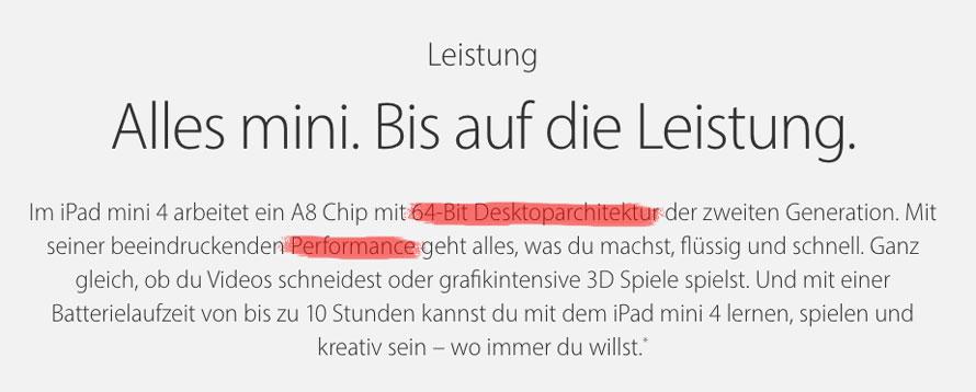 iPad Mini 4 Desktoparchitektur und Leistungsbeschreibung
