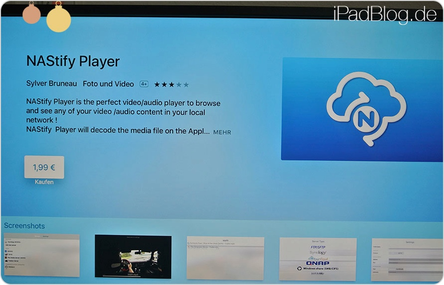 NAStify Player als tvOS-App auf dem Apple TV4