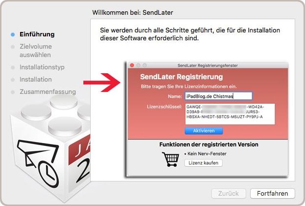 Registrierungsfenster bei SendLater von Feingeist