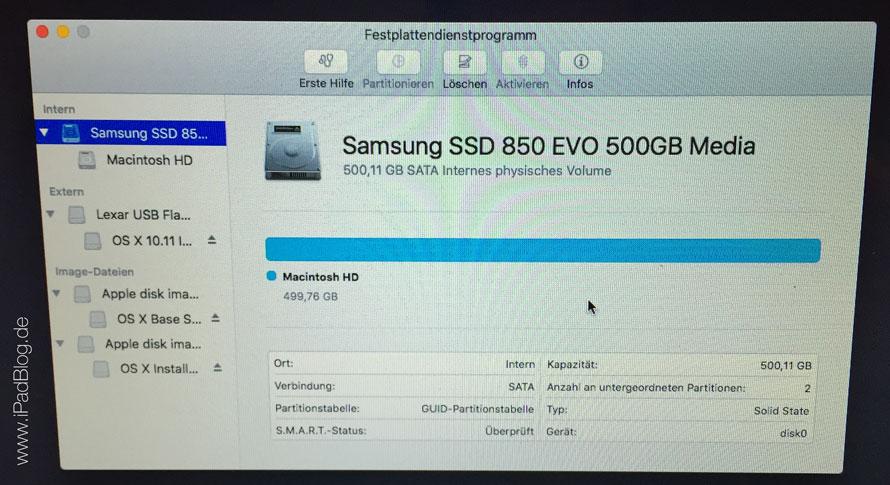 SSD im Festplattendienstprogramm erschienen