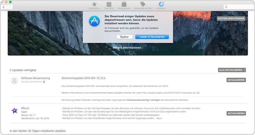 AppStore Update der Software am Mac