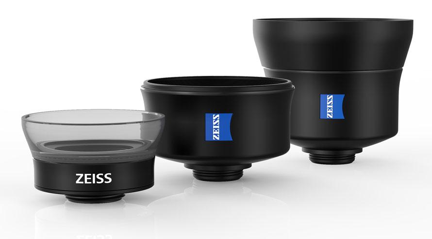 Die drei ExoLens Objektive mit ZEISS Optik – Makro-, Weitwinkel- und Teleobjektiv.