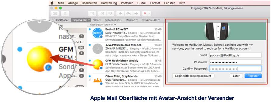 Registration von MailButler