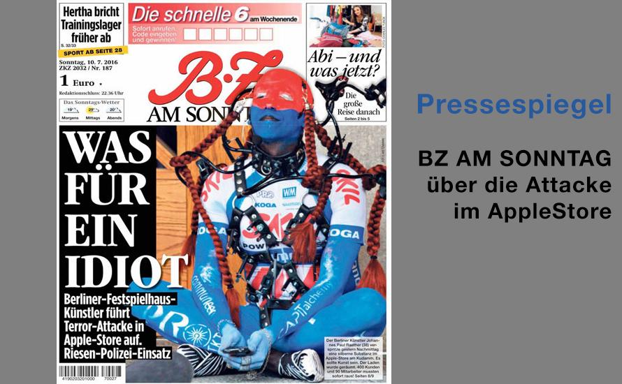 Titelseite der BZ am Sonntag zur Attacke im Berliner AppleStore
