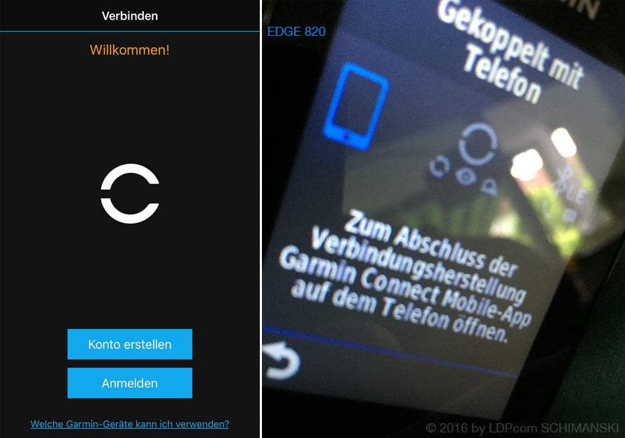 Gerät Edge 820 bittet zur Garmin Connect Mobile App