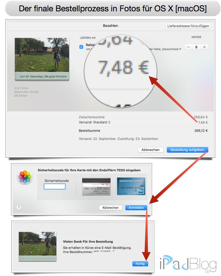 Finaler Bestellprozess in Fotos für OS X