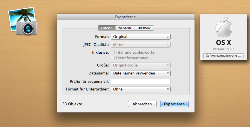 Exportfunktion bei iPhoto