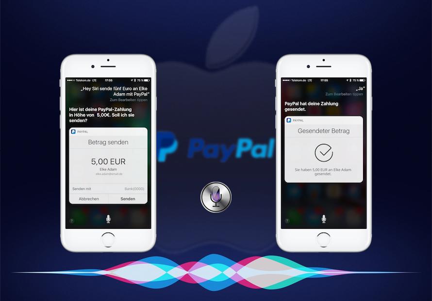 Bezahlen mit PayPal durch Siri Sprachsteuerung Beitragsbild