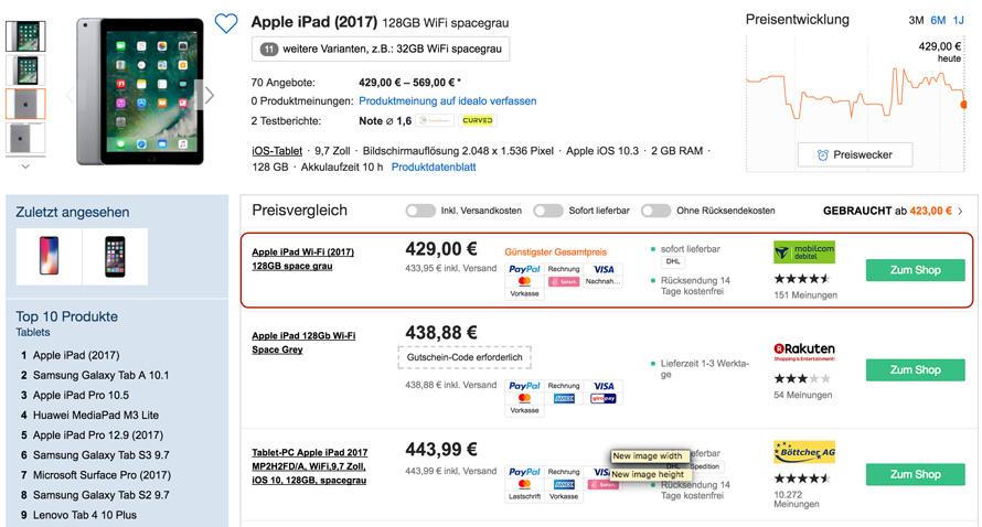 11 dezember sparangebot apple ipad wi fi 2017 128gb. Black Bedroom Furniture Sets. Home Design Ideas